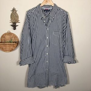 Tommy Hilfiger Oversized Long Sleeve Gingham Dress